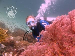 Kristina posing behind a beautiful Gorgonian sea fan